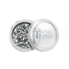 ruNail, дизайн для ногтей: конфетти (серебряный)