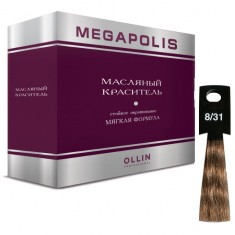 Оллин/Ollin MEGAPOLIS 8/31 светло-русый золотисто-пепельный 3х50мл Безаммиачный масляный краситель для волос OLLIN PROFESSIONAL
