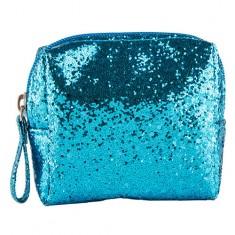 Косметичка LADY PINK SHINE ON glitter small size голубая
