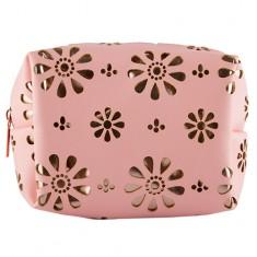 Косметичка LADY PINK PERFORATION квадратная с орнаментом розовая