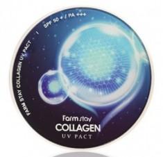 Пудра компактная с коллагеном FARMSTAY Collagen UV pact 12г*2