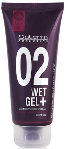 SALERM COSMETICS Гель средней фиксации с эффектом мокрых волос / WET GEL+ PRO-LINE 200 мл