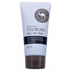маска – пленка для очищения пор с глиной и древесным углем bcl tsururi peel-off pack