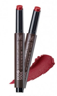 Помада для губ матовая THE SAEM Eco Soul Kiss Button Lips Matte 06 Bitter Chocolate 2г