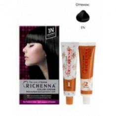 Richenna Color Cream 1 n - Крем-краска для волос с хной, натуральный черный