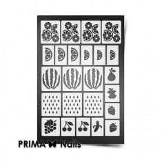 Prima Nails, Трафареты «Фруктовый сад», белые