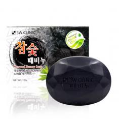 3W CLINIC Мыло для лица и тела с углем 120 г
