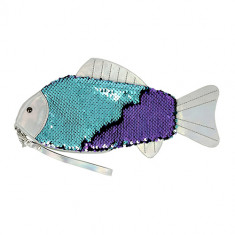 Косметичка LADY PINK плоская с пайетками фиолетовая рыбка