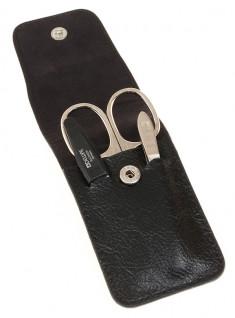 DEWAL PROFESSIONAL Набор маникюрный, чехол натуральная кожа, цвет черный, 3 предмета