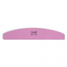 ruNail, Пилка для искусственных ногтей, розовая, полукруглая, 100/100
