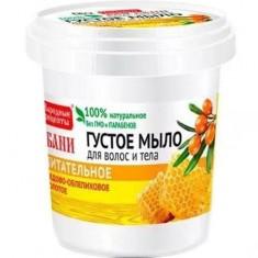 Густое мыло для волос и тела медово-облепиховое золотое для бани Народные рецепты FITO КОСМЕТИК