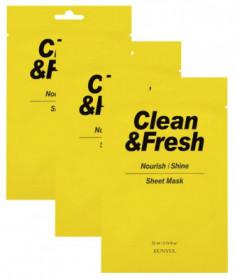 Набор тканевых масок для питания и сияния кожи EUNYUL CLEAN & FRESH NOURISH-SHINE SHEET MASK 22мл*3