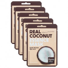 Набор тканевых масок с экстрактом кокоса FarmStay REAL COCONUT ESSENCE MASK 23мл*5