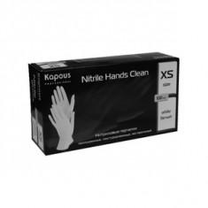 Нитриловые перчатки неопудренные, текстурированные, нестерильные «Nitrile Hands Clean», белые, 100 шт., р-р XS (Kapous Professional)